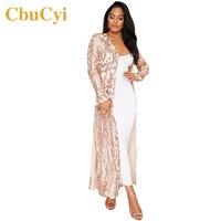 CbuCyi Lente Mode Kleding Elegante Jurken Lange Vest Volledige Mouw Mesh Pailletten Jurk Dames Clubs Feestjurken