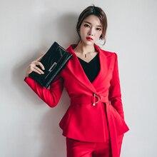 Красные женские повседневные офисные деловые костюмы Формальные комплекты одежды для работы форменные стили элегантное платье