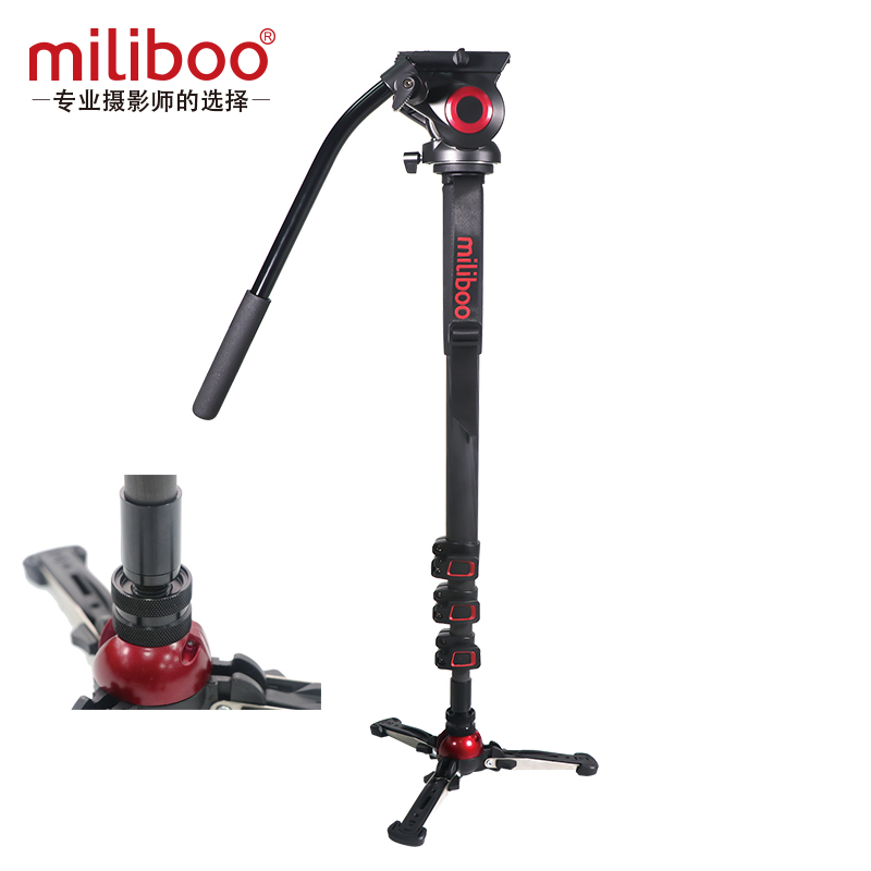 Miliboo a amélioré le monopode professionnel en fiber de carbone en aluminium avec la tête hydraulique Mini trépied Unipod titulaire Manfrotto voyage