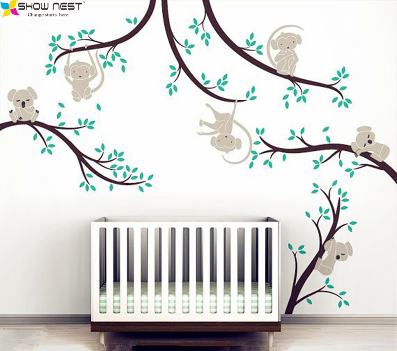 Monkey And Koala Tree Branches Wall Sticker Home Decor Nursery Nature Art Mural Baby Kids Room Decoration High Quality In Stickers From