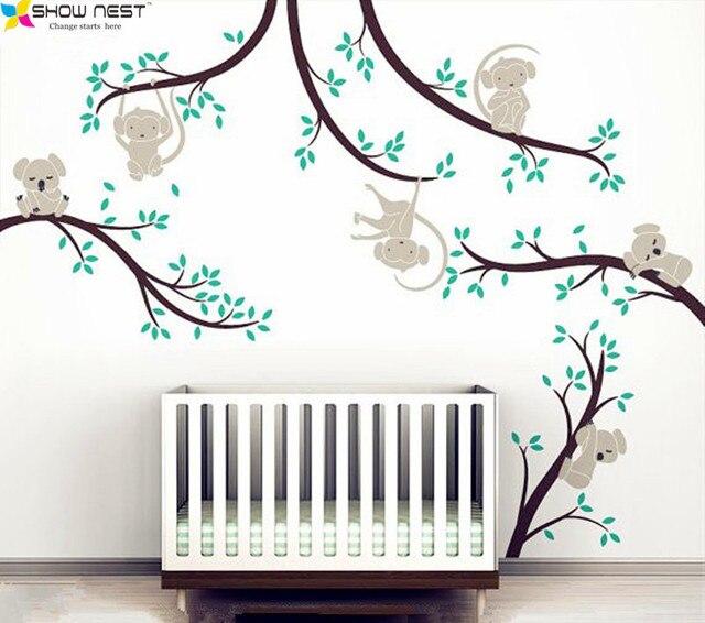 Tree Branch Wall Decor aliexpress : buy monkey and koala tree branches wall sticker
