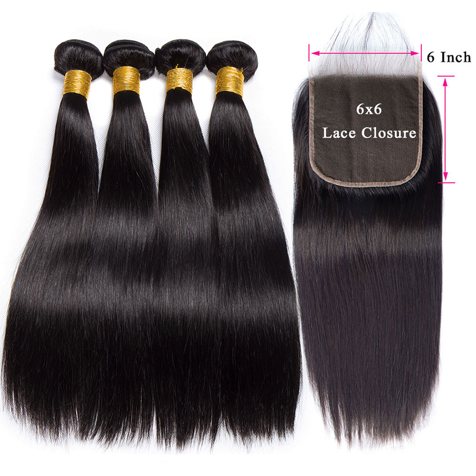 Malaysian Straight Hair Bundles With 6x6 Closure Long Parting Lace Closure With Remy Human Hair 3
