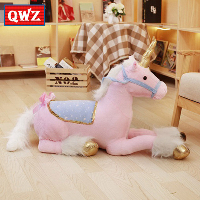 QWZ 100cm Large Stuffed Animals Horse Unicorn Plush Toy Pink Doll Soft Unicornio Toys Photography Props For Kids Christmas Gift