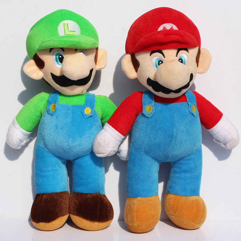23ca617446 2pcs Lot 25 35 40CM Stand Super Mario Luigi Toys High Quality Mario Bros  Brothers Soft Plush Dolls Toy For Kids Free Shipping