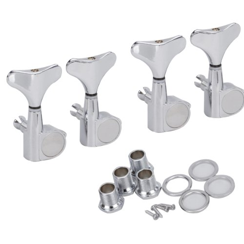 4 Pairs 4R Chrome Bass Tuners Machine Heads Tuning Pegs a set chrome sealed gear tuning pegs machine heads tuners for guitar with black big square wood texture buttons