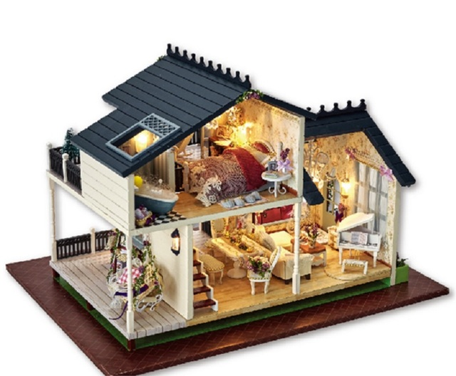 2017 New Girl Diy Doll House PROVENCE Miniature Wooden Building Kits Model  Dollhouse Furniture Model Toys
