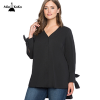 MissKoKo Plus Size Solid Black V Neck Women Shirts Full Sleeve Split Bow Female Tops Streetwear