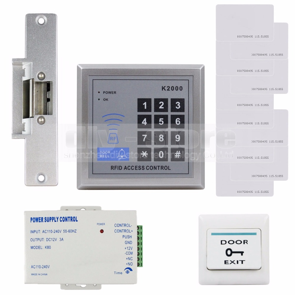 ФОТО DIYSECUR RFID 125KHz Reader Access Control System Security Kit + Electric Strike Door Lock + Power Supply