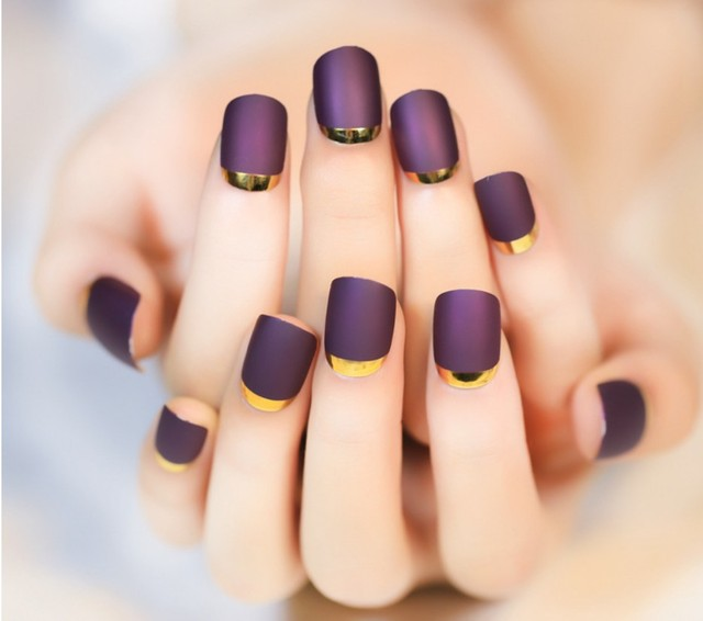 24pcs High quality Matte blue color false nails set Short size full ...
