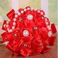 5 Цветов Элегантный Красный Фиолетовый Розовый Бежевый Искусственный Свадебный Букет Buque Noiva Букет Де Mariage Кристалл Букет Невесты Букет