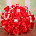 5 Colors Elegant Red Purple Pink Beige Artificial Wedding Bouquet Buque Noiva Bouquet De Mariage Crystal Bouquet Bride Bouquet