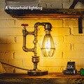Industrial do vintage Retro Estilo tubulação de água lâmpada de Mesa Lâmpada de Mesa luz da noite soquete E27 Edison Luz Lâmpada de Cabeceira iluminação luminárias