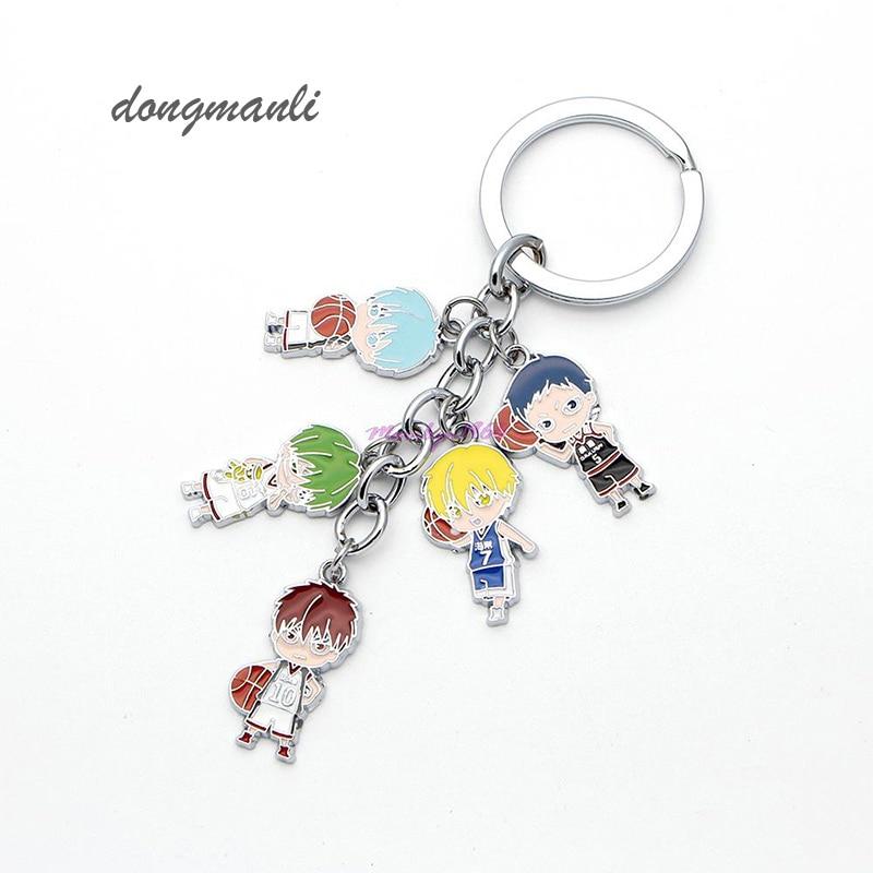 Kuroko no basuke Metal Keychain Anime Kuroko Tetsuya Basketball 5 Figure Jewelry Toy Key chain Gift Basket jewelry accessories