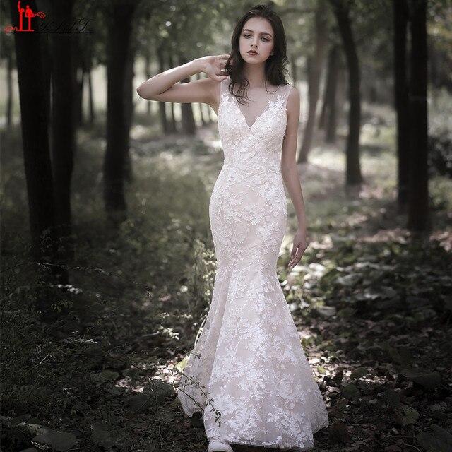 liyatt vintage 2019 elegante novia de encaje estilo sirena v cuello