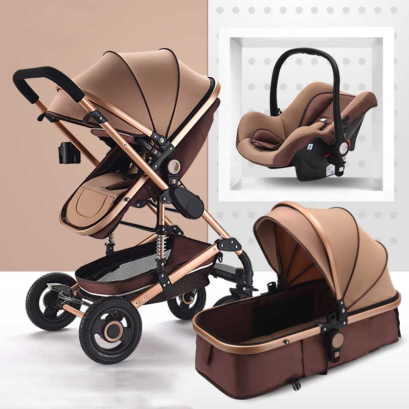 Bluechildhood high landscape stroller 3 and 1 portable stroller two-way four-wheel shock absorber foldable highend baby stroller