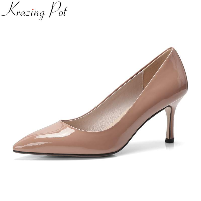 Krazing Pot 2019 shoes woman cow leather pointed toe shallow high heels slip on wedding shoes