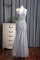 Hot Sale 2017 Beaded Prom Dresses Sleeveless For Women Crystal Long Formal Evening Party Dresses Plus Size Custom made