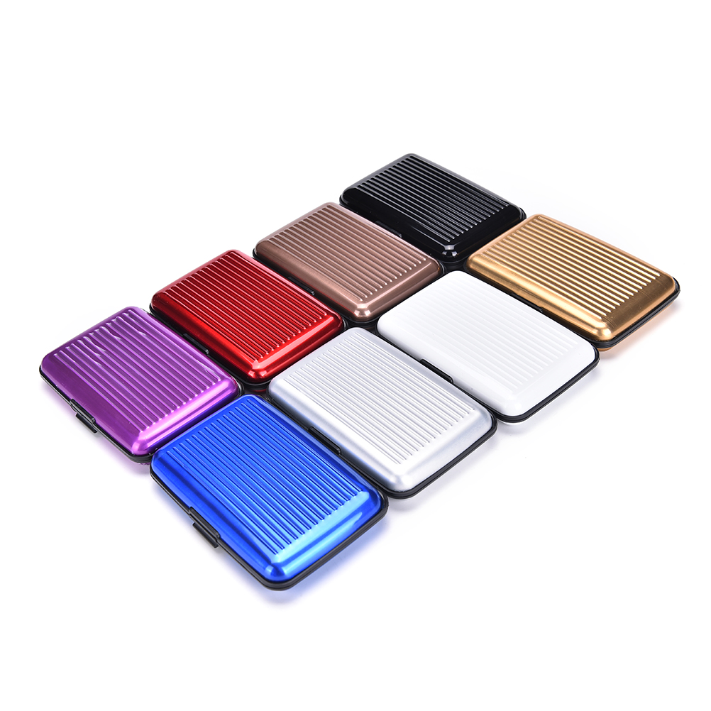 Aluminum Business Shiny Metal Cardholder Box Card Holders & Note Hold Card Waterproof Credit Card ID Holder Case For Men Women