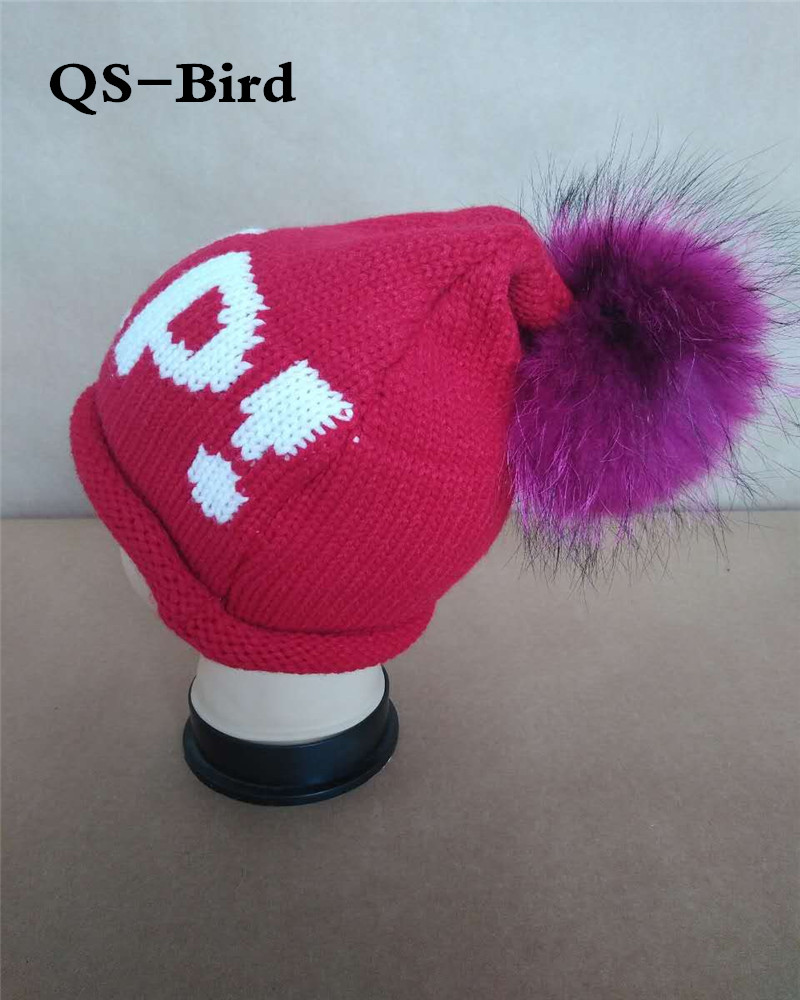 Letter  Help Casual Beanies Winter Hats Crochet Knitting Wool Cap Fur Pompons Ball Warm Gorros Outdoor Brand Thick Female Cap skullies beanies winter woman fashion knitting hats with pompom beanies girls warm letter b cap