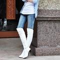 Большие размера сапоги размер США 4-15 Новый Черный Секси Замши За колено Высокий Каблук Сапоги Острым Носом женская обувь 7 Цвета ОМП-858
