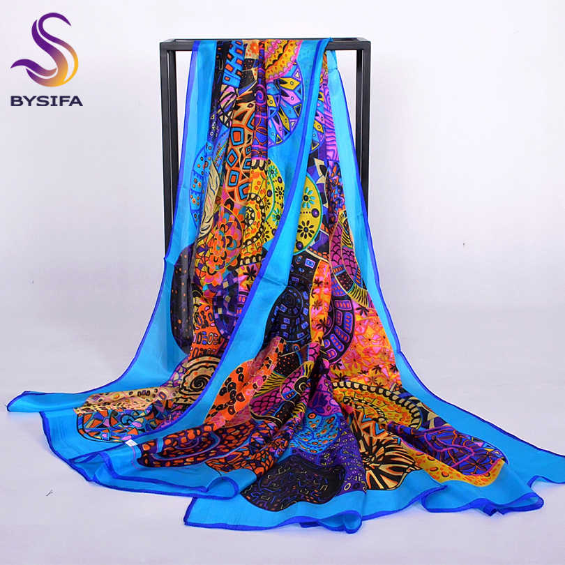 Brand Blue Ladies Long Silk Scarf Shawl 2017 Summer Fashion Beach Shawl Cover Ups Women Pure Silk Scarves Wraps Yellow Orange