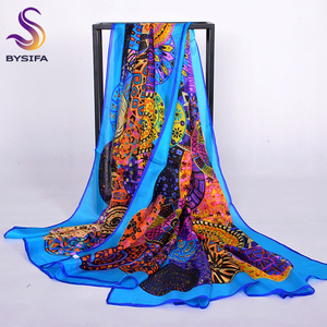 Image 1 - Brand Blue Ladies Long Silk Scarf Shawl 2017 Summer Fashion Beach Shawl Cover Ups Women Pure Silk Scarves Wraps Yellow Orange