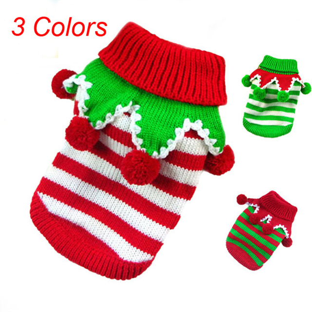 Free Ship Striped Pet Dog Sweater For Autumn Winter Wholesale Warm
