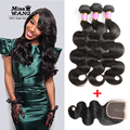 8A Mink Brazilian Hair With Closure Cheap Body Wave Brazilian Hair With Closure 3 Bundles Virgin Hair With Frontal Thick Weave