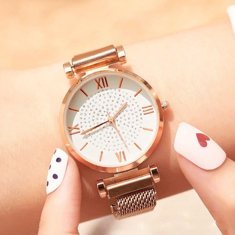 Luxury Gypsophila Ladies Dress Watch Fashion Diamond Women Quartz Wristwatches Magnetic Mesh Waterproof Clock relogio feminino in Women 39 s Watches from Watches