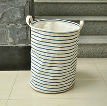2pcs / lot  Zakka Style Cotton Cloth Blue Striped Drawstring Storage Buckets toy box canvas laundry basket cesta roupa suja