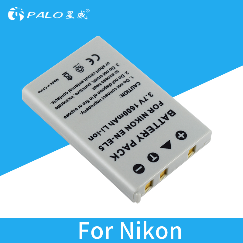 PALO 1pcs camera battery 3.7v 1600mah li ion EN-EL5 EL5 rechargeable battery for NIKON P500 P5100 P520 P6000 S10 COOLPIX_P100 maxell er17 33 non rechargeable 3 5v 1600mah battery