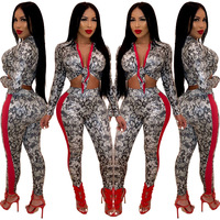 2019 New summer clothes for women Famous Brand Casual 2 piece Set Women Snakeskin digital print two piece suit