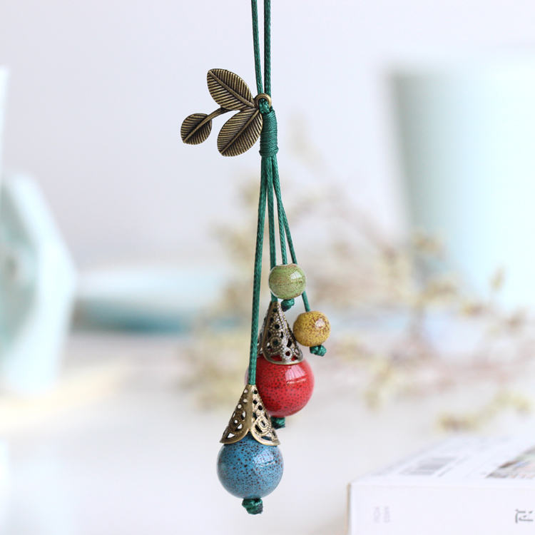 2016 Handmade Ceramic Long Necklace Women accessories New Arrival Bohemia Style Blue Red