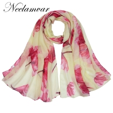 Neelamvar 2017 Women Brand Soft Voile Scarf Long fashion flowers printed Scarf Birthdays Gift Scarf Shawl Neck Wrap for Women все цены