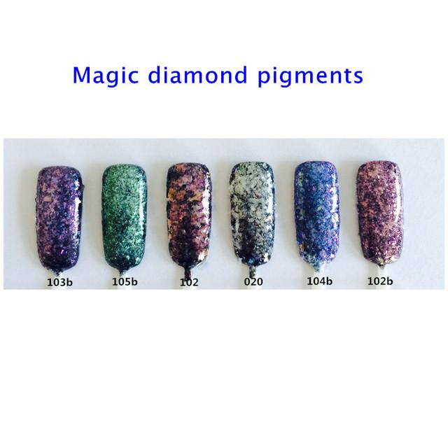 50g Diamond Pigmentos Escamas Irregulares Forma Brillo de Uñas Efecto Mágico Polvo de Cosméticos Decoración Del Arte Del Clavo Esmalte de Uñas de Gel