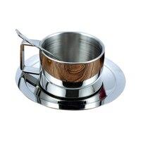 Rvs MOK Keuken Bar Drinkware Dubbele Lagen Warmte-isolatie Driedelige Pak Koffiekopje Met Handgreep 180 ML