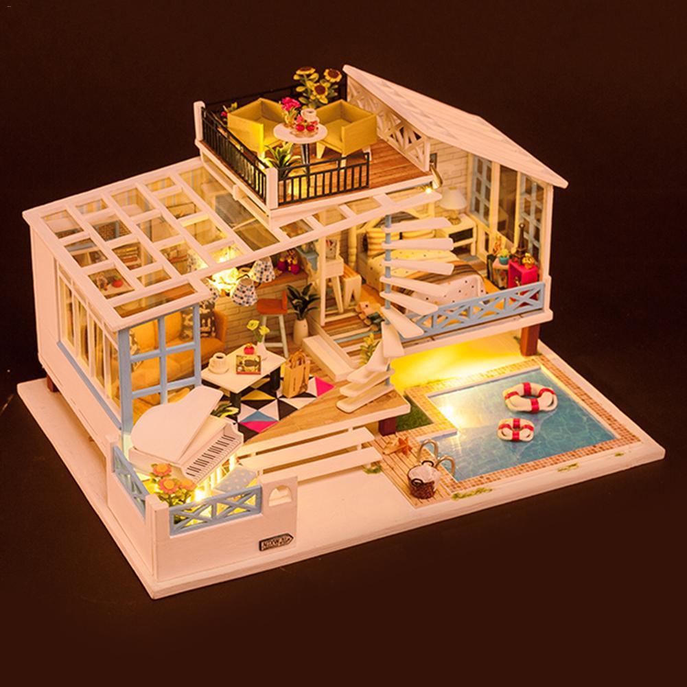 Bricolage Cottage maison bricolage artisanat maison de poupée Kit jouet créatif avec avec lumière musique mouvement manuel bricolage Production livraison rapide