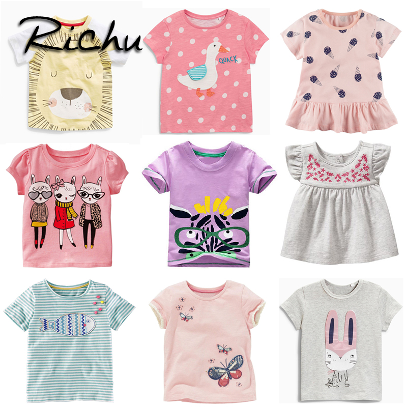 Richu t shirt dresses for summer 3d cute printed t shirts for girls short sleeve cotton baby t shirts for girls childing clothes 2018 new arrived baby girls dresses summer clothes cute cartoon mickey printed milksilk short sleeve children infant dress for g