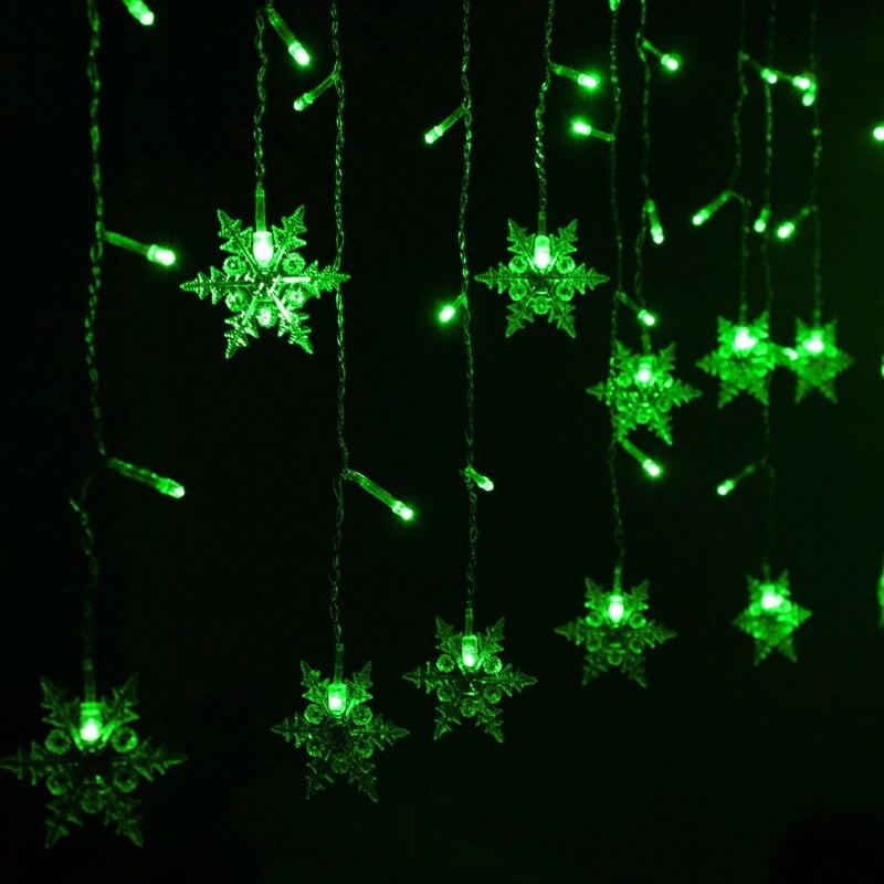 Led flocon de neige Transparent fil d'argent décoration extérieure maison fée lumière rideau rayures lampes pour chambre, AC 220 V H-28
