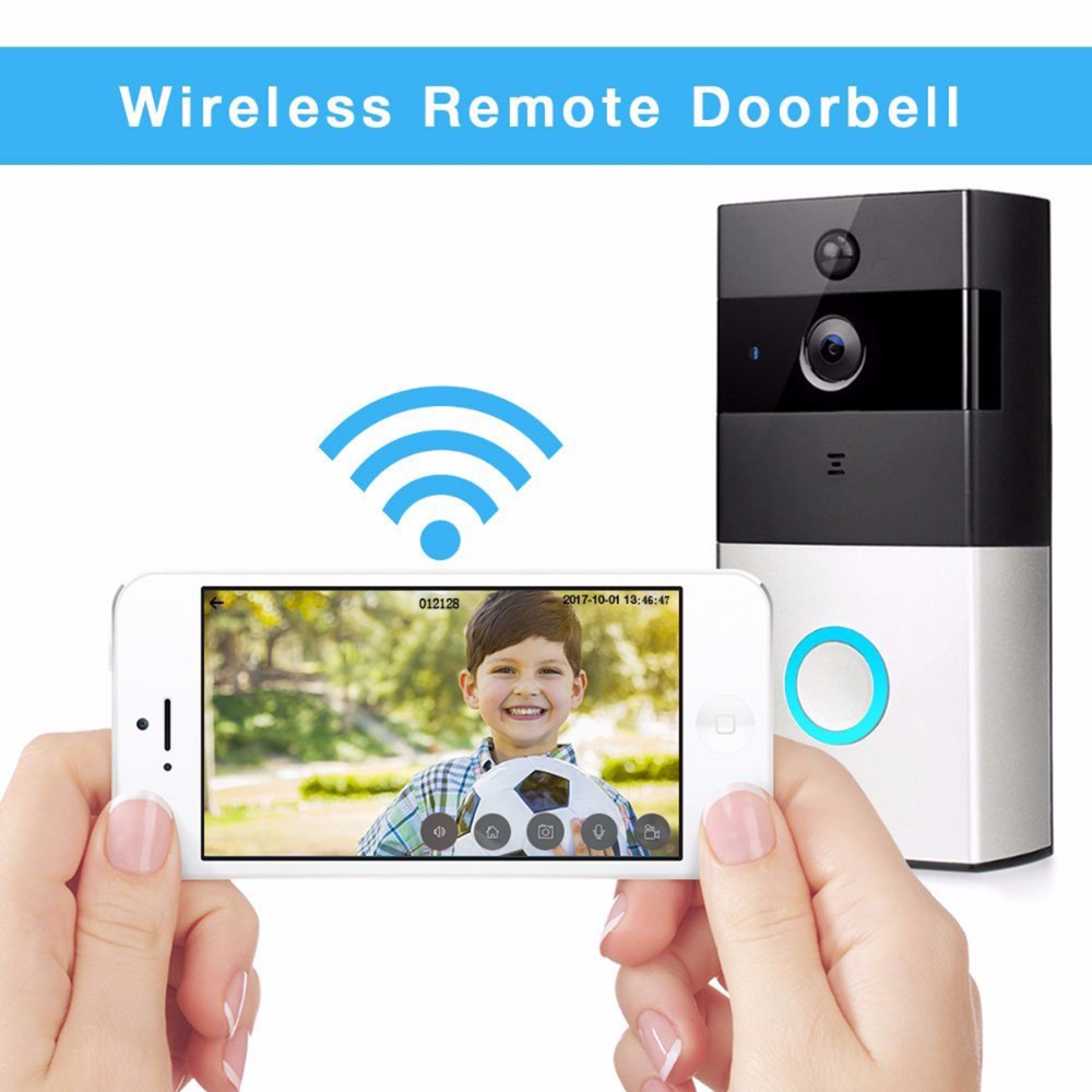 Wireless Video Doorbell Wifi Door Phone  1 indoor Chime, 720P HD Wide-Angel Door Camera Night Vision for IOS Android F1428D zilnk video intercom hd 720p wifi doorbell camera smart home security night vision wireless doorphone with indoor chime silver