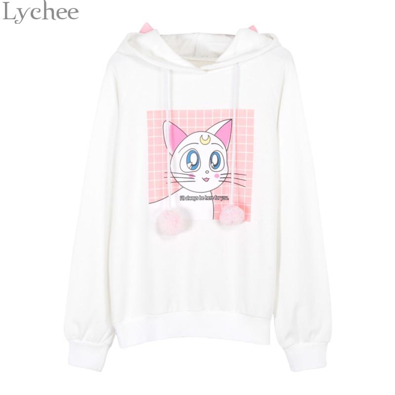 Lychee Women Hooded Sweatshirt Sailor Moon Luna Cat Printed Ear Long Sleeve Casual Loose Hoodies Spring Autumn Tracksuit ...
