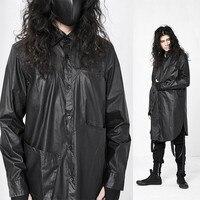 Темно готика в стиле панк искусственная кожа рубашка японский Ямамото дизайн личность мужская длинная рубашка черный