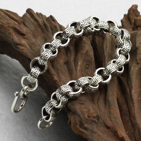 10 MM fait à la main thaïlande 925 Siilver Bracelet Vintage en argent Sterling chanceux symbole Bracelet homme Bracelet