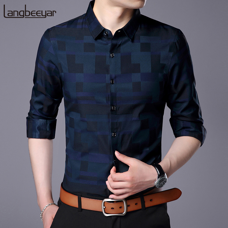 2019 Fashion Brand Shirt For Men Button Up Plaid Korean Slim Fit Streetwear Long Sleeve Checkered Dress Shirt Mens Clothing
