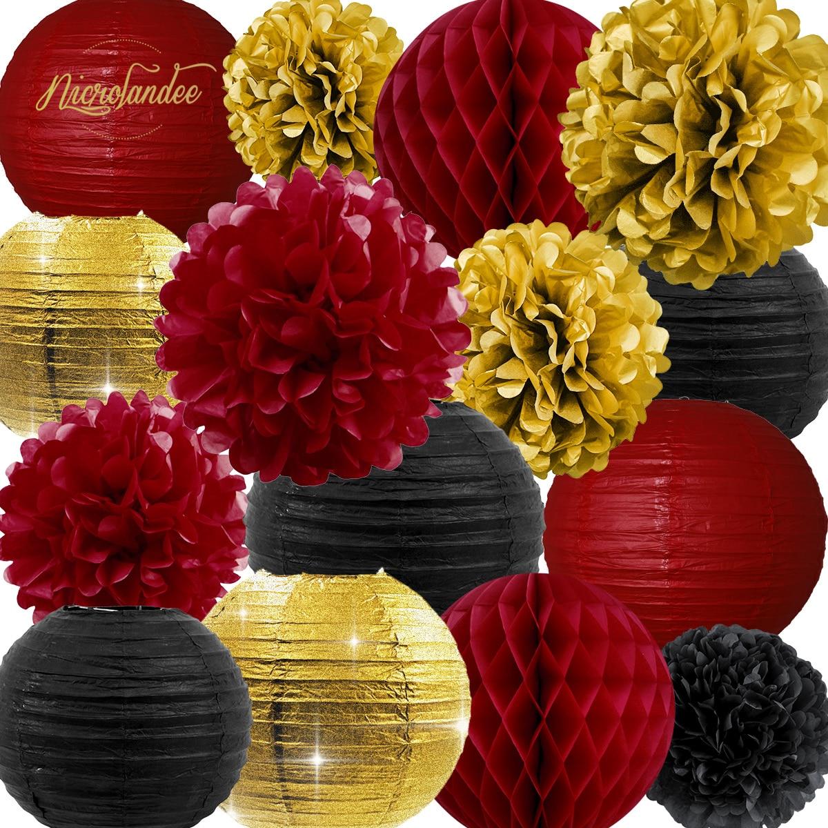 NICROLANDEE 15 pcs/set Red Black Gold Paper Lanterns Flowers Honeycomb Ball Birthday Hen Party Bride Shower Decoration DIY