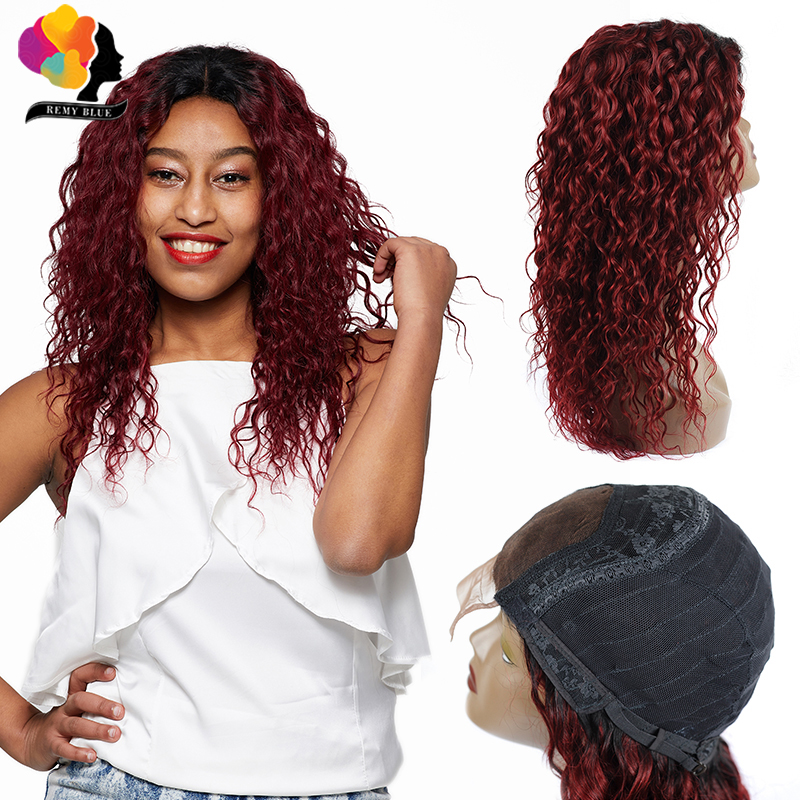 Remyblue Ombre Red Lace Front Human Hair Wigs For Women T1B 99J Burgundy Water Wave Wig