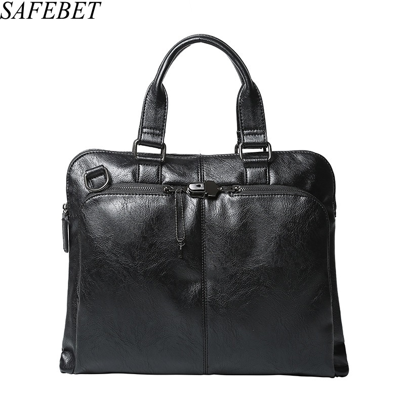 SAFEBET Brand Men Casual Briefcase Business Shoulder Bag Leather Messenger Bags Computer Laptop Handbag Bag Men's Travel Bags safebet brand crocodile pattern fashion men shoulder bags high quality pu leather casual messenger bag business men s travel bag