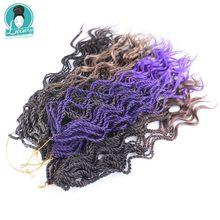"""Роскошные для плетения Kanekalon Синтетические пряди для наращивания волос 18 """"35strands/pc Ombre Цвет вьющиеся Сенегальский крутить Micro вязанная косами"""