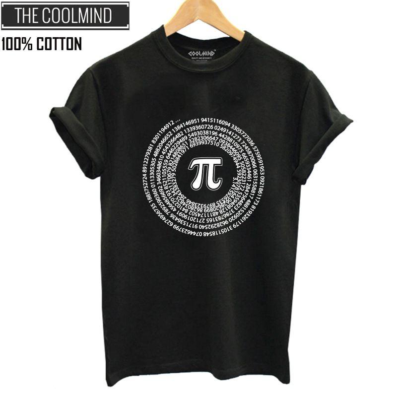 COOLMIND QI0222B 100% Cotton Math Print Women T Shirt Casual Cool Summer Tshirt Women Cool Loose Women T-shirt  Tee Shirts
