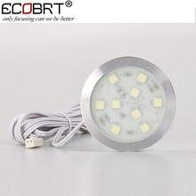 (10pcs/lot) led bulb ceiling downlights 2W 12V DC Ultra Bright Under Cabinet light led cupboard lamp Flat SMD5050 chip lighting
